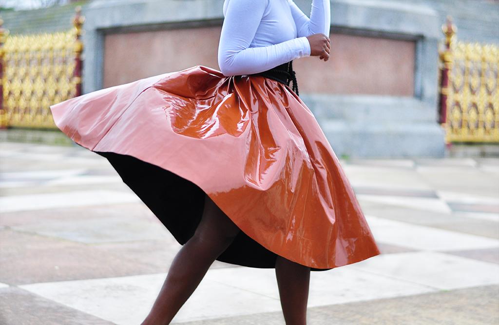 patent caramel skirt
