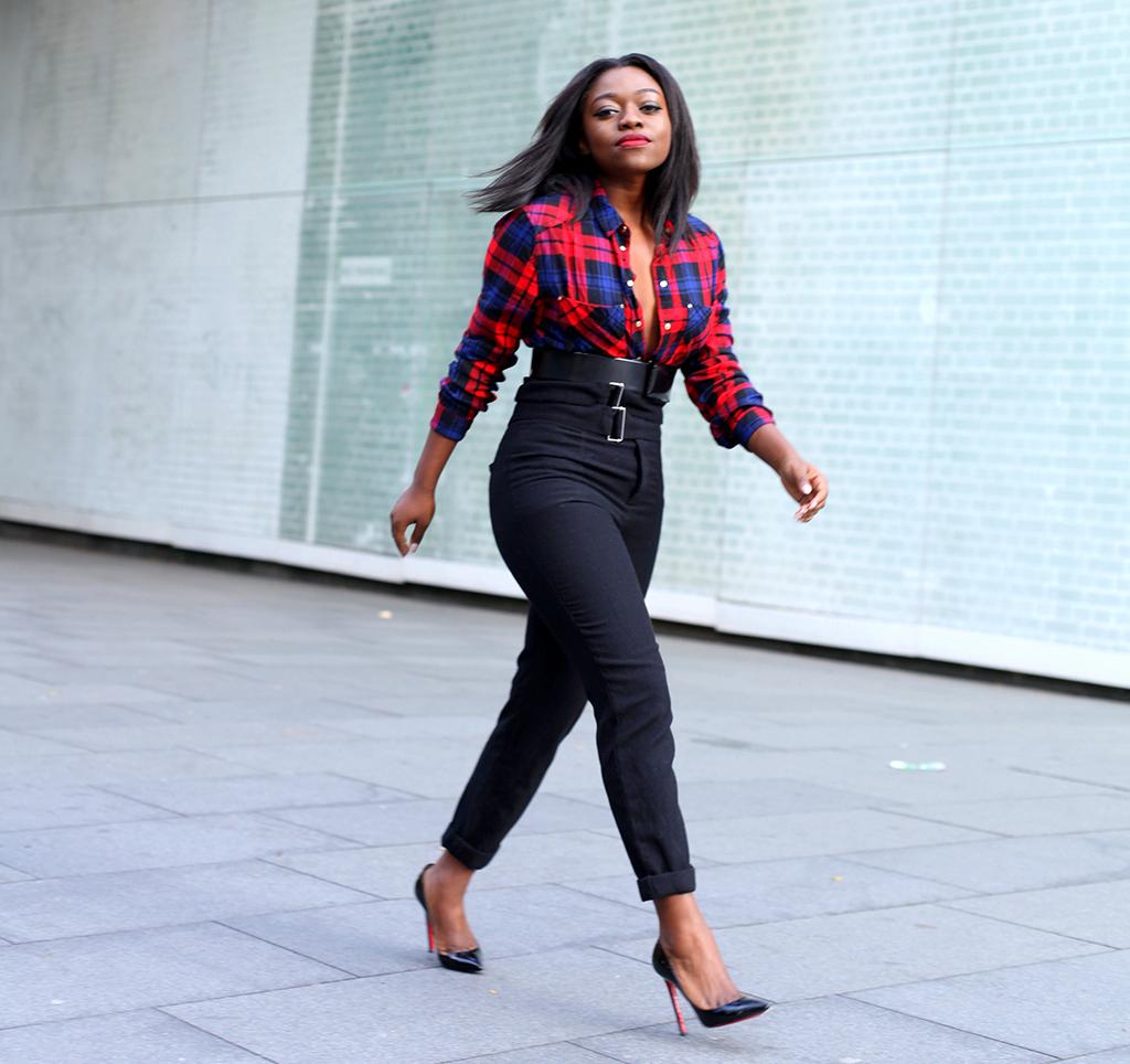 kim-kardashian-inspired-outfit-check-shirt-3 - Mirror Me   London ...