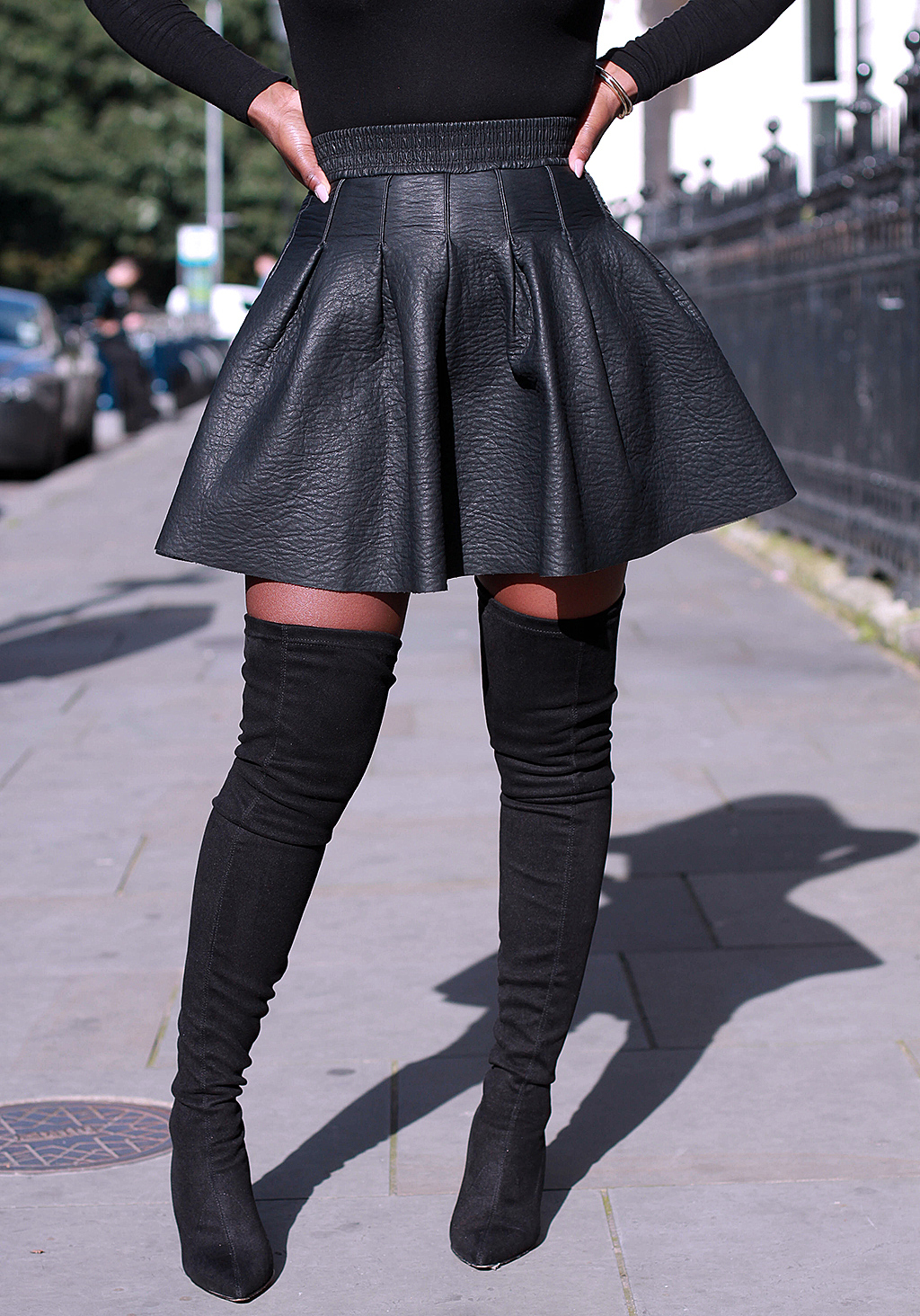black-flared-leather-skirt-suede-black-thigh-high-boots-mirror-me ...