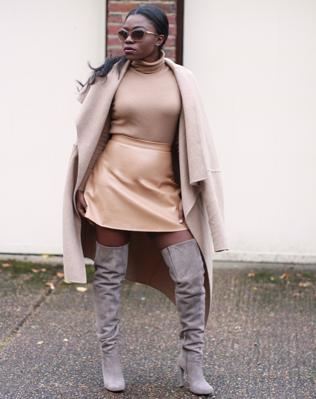 Camel Coat Leather Skirt Grey Suede Over The Knee Boots 7