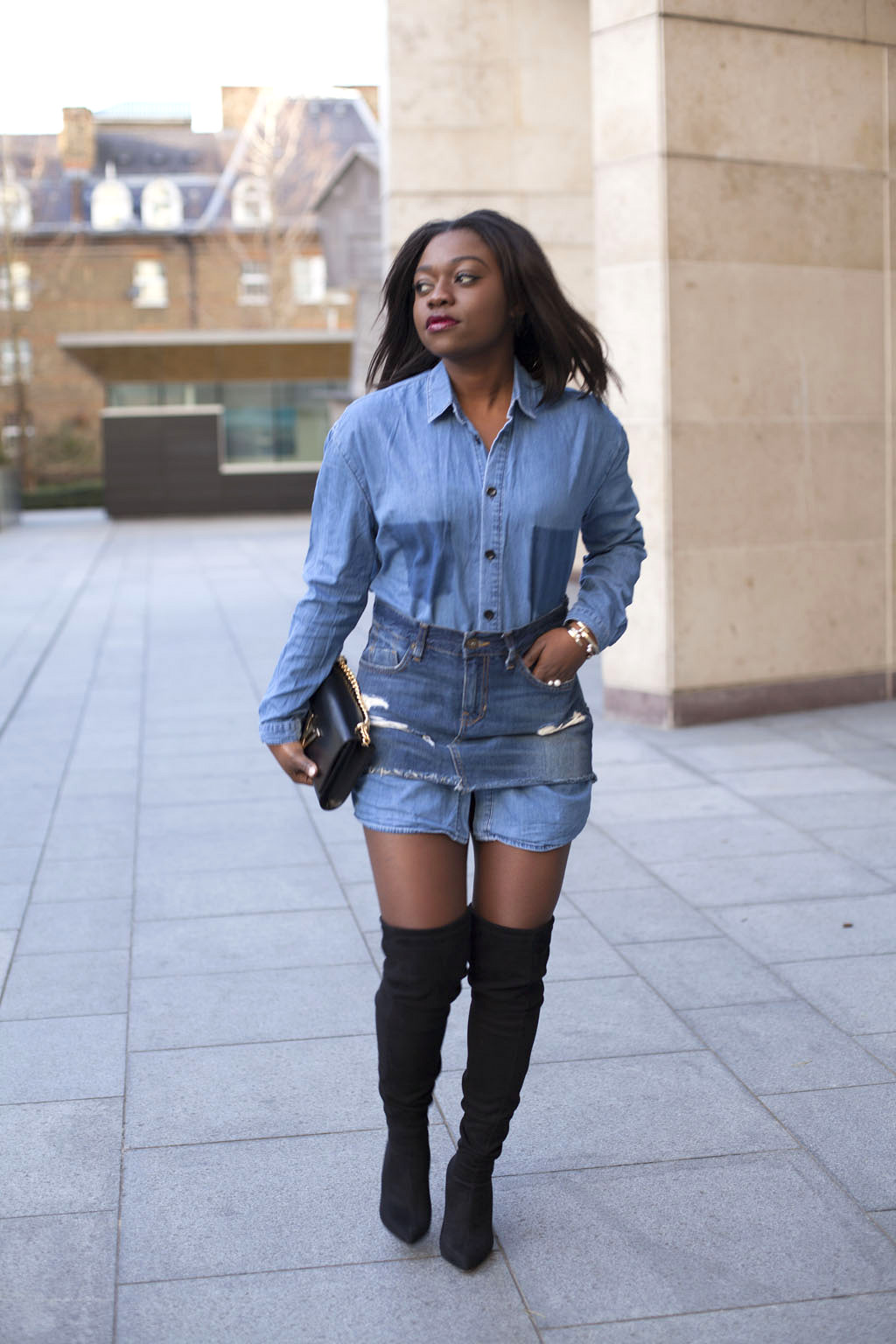 denim-shirt-levis-denim-skirt-double-denim-black-over-the-knee ...