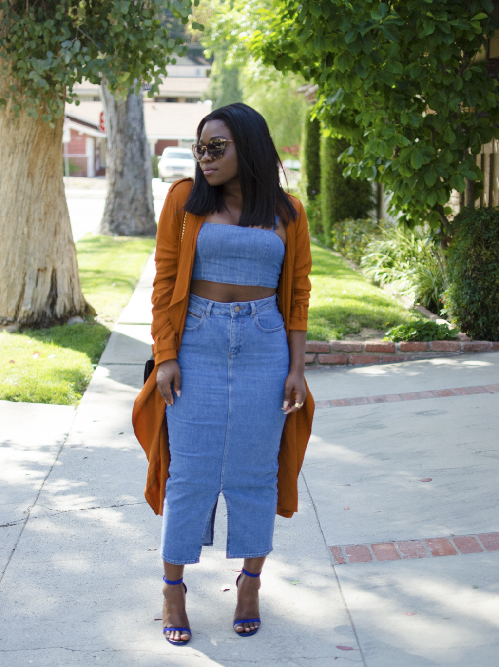 denim skirt and rust coat